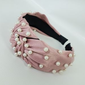Wide Head Band Hairband Knot Pearls Beads